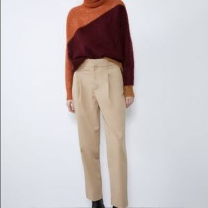 High waisted menswear pants in light camel